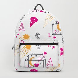 Cute moon heart diamond hand drawn illustration pattern Backpack