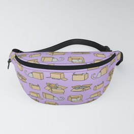 Cats in Cardboard Boxes, on Lavender Fanny Pack