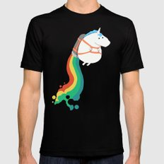 Fat Unicorn on Rainbow Jetpack Black MEDIUM Mens Fitted Tee