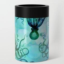 Octopus blue green mixed media underwater artwork Can Cooler
