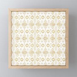 Luxury gold geometric tribal Aztec pattern Framed Mini Art Print