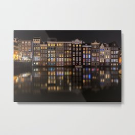 Amsterdam houses with lights reflection at night Metal Print