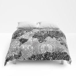 world map mandala black and white 1 Comforters