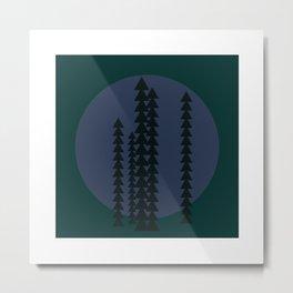 #429 Mountain trees at night – Geometry Daily Metal Print