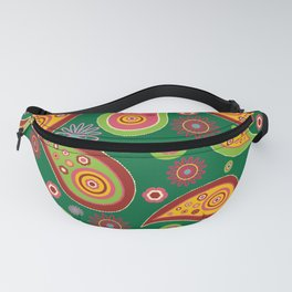 Oriental Persian Paisley - Green Yellow Red Fanny Pack