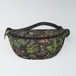 Vintage & Shabby Chic - vintage botanical wildflowers and berries on black Fanny Pack