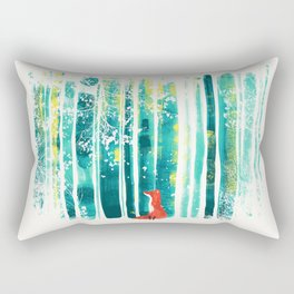Fox in quiet forest Rectangular Pillow