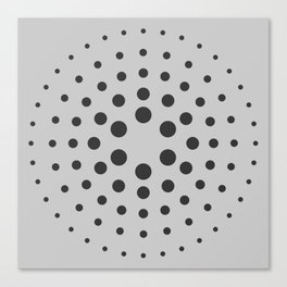MidCentury Modern Spiral Dots Black & Grey Canvas Print