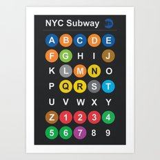 New York City subway alphabet map - dark version Art Print