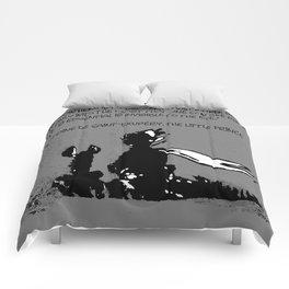 Antoine de Saint-Exupéry - quote - stencil - grey version Comforters