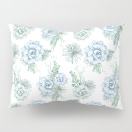 Succulents Pastel Mint Green Turquoise Teal Sky Blue Pattern 2 Pillow Sham