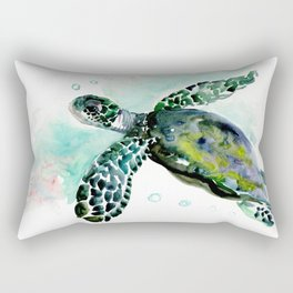 Sea Turtle, underwater scene,  green turquoise beach house design Rectangular Pillow