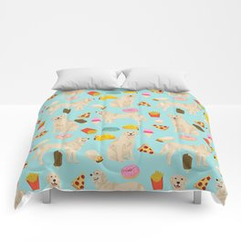 Golden Retriever donuts french fries ice cream pizzas funny dog gifts dog breeds Comforters