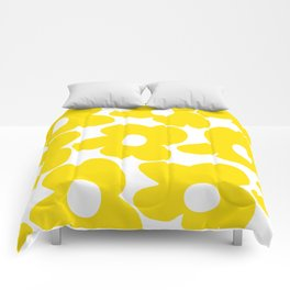 Large Yellow Retro Flowers on White Background #decor #society6 #buyart Comforters