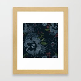 Moody Blues Floral Pattern Framed Art Print