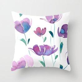 Purple Florals Throw Pillow