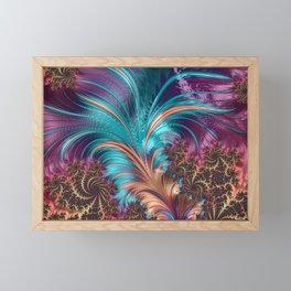 Blue Purple Feather Fractal Artistic Framed Mini Art Print