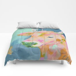 cow abstract painting Comforters