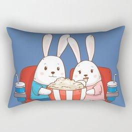 Bunnies Movie Night Rectangular Pillow