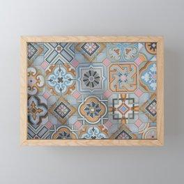 Mallorcan tiles in flower patterns Framed Mini Art Print