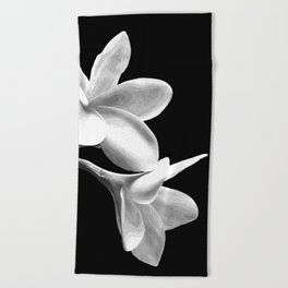 White Flowers Black Background Beach Towel