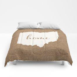 Ohio is Home - White on Burlap Comforters