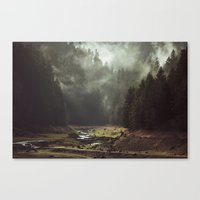 a lot of cats Canvas Prints featuring Foggy Forest Creek by Kevin Russ