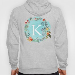 Personalized Monogram Initial Letter K Blue Watercolor Flower Wreath Artwork Hoody