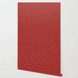 White & Red Navy Polkadot Pattern Wallpaper