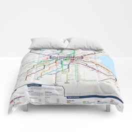 Dublin Frequent Transport Map V10 Comforters