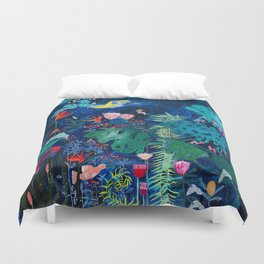 Brightly Rainbow Tropical Jungle Mural with Birds and Tiny Big Cats Duvet Cover