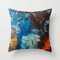 metal Throw Pillows featuring Metal by yellowbunnies