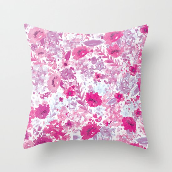 Floral Fuchsia Throw Pillow