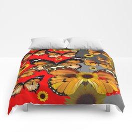 RED & GREY BROWN BUTTERFLIES ART Comforters