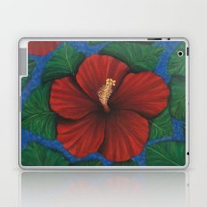 Tropical Hibiscus in Red island art painting Laptop & iPad Skin