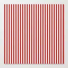 Red & White Maritime Vertical Small Stripes - Mix & Match with Simplicity of Life Canvas Print