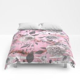 berry juice floral watercolor pink gray Comforters