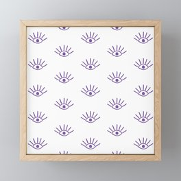 Purple Evil Eye Pattern Framed Mini Art Print