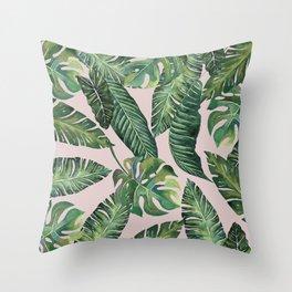 Jungle Leaves, Banana, Monstera Pink #society6 Throw Pillow