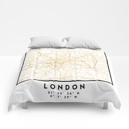 LONDON ENGLAND CITY STREET MAP ART Comforters