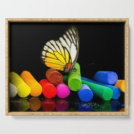 Butterfly with colored chalks Serving Tray