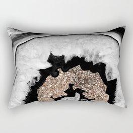 Gray Black White Agate with Gold Glitter #1 #gem #decor #art #society6 Rectangular Pillow
