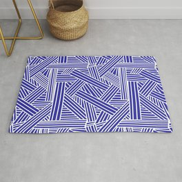 Sketchy Abstract (White & Navy Blue Pattern) Rug