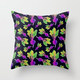 Feel the Beet in Skillet Black + Electric Purple Throw Pillow