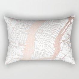 New York City White on Rosegold Street Map Rectangular Pillow