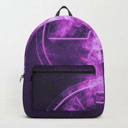 Radiation sign, Radiation symbol. Abstract night sky background Backpack
