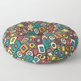 Retro Design Squares Teal Brown Red Yellow Floor Pillow