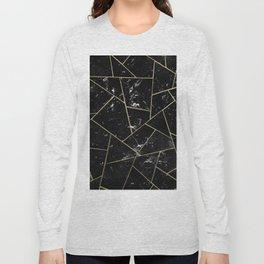 Black Marble Gold Geometric Glam #1 #geo #decor #art #society6 Long Sleeve T-shirt