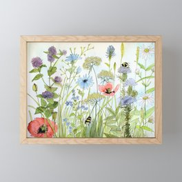 Floral Watercolor Botanical Cottage Garden Flowers Bees Nature Art Framed Mini Art Print