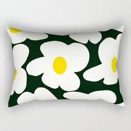 White Retro Flowers Black Background #decor #society6 #buyart Rectangular Pillow